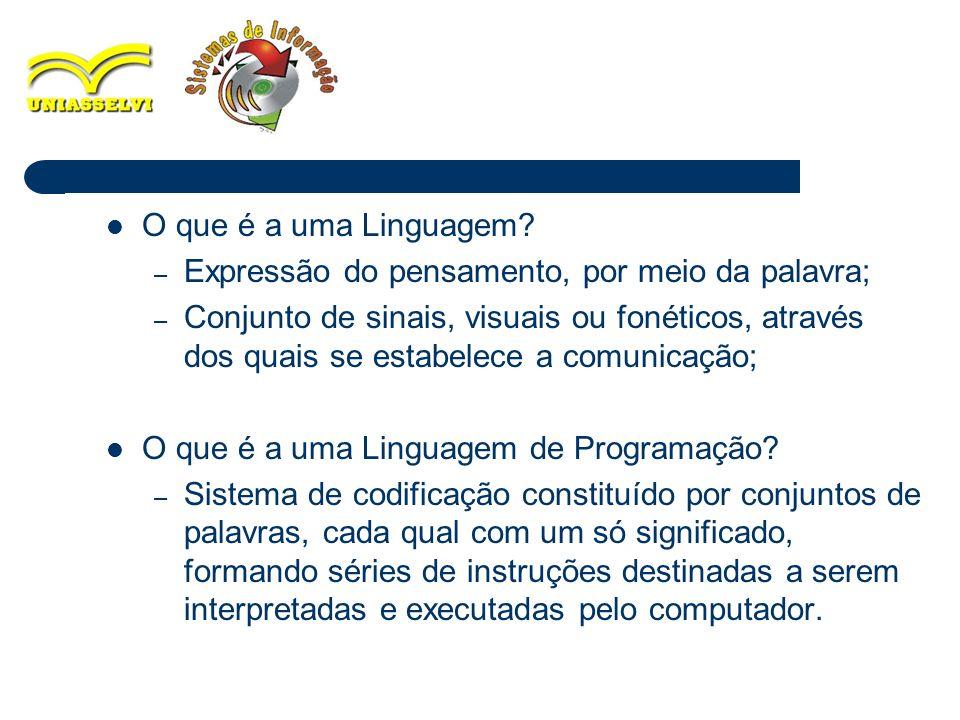 2 O que é a uma Linguagem? – Expressão do pensamento, por meio da palavra; – Conjunto de sinais, visuais ou fonéticos, através dos quais se estabelece