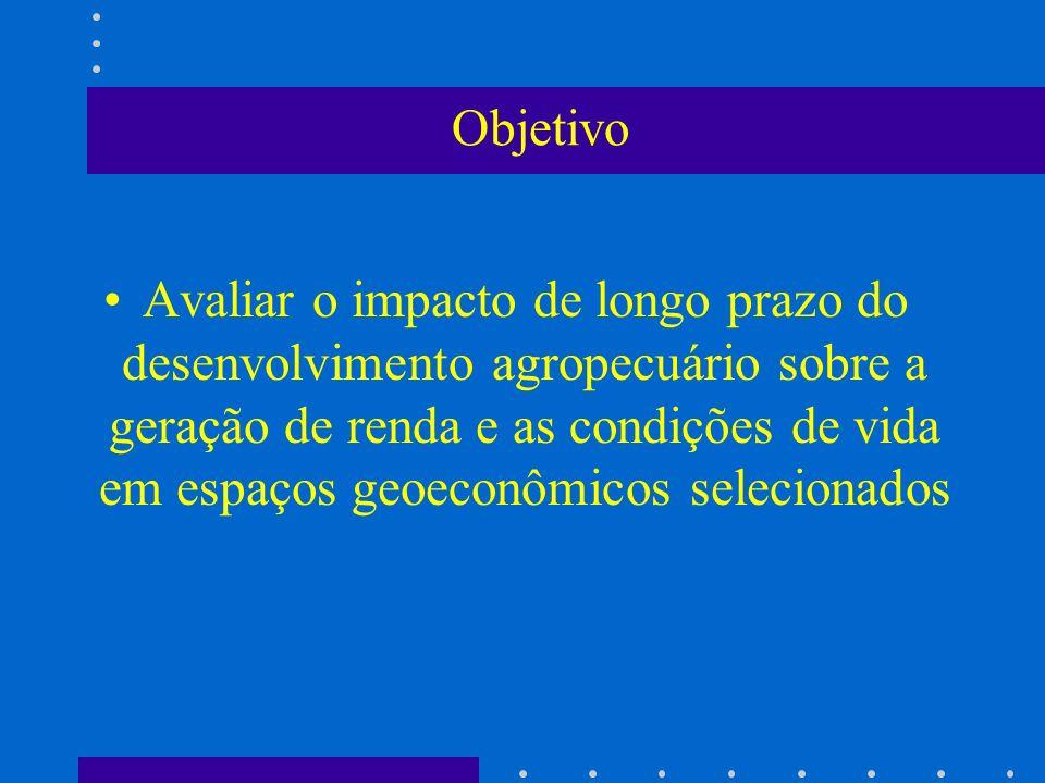 Objetivo Avaliar o impacto de longo prazo do desenvolvimento agropecuário sobre a geração de renda e as condições de vida em espaços geoeconômicos sel
