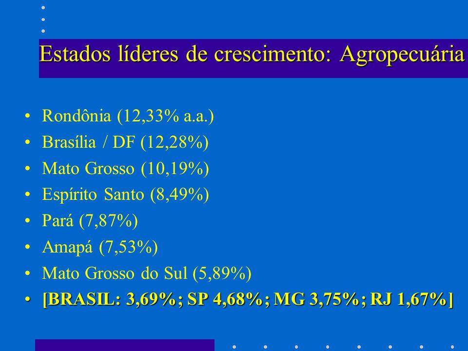 Estados líderes de crescimento: Agropecuária Rondônia (12,33% a.a.) Brasília / DF (12,28%) Mato Grosso (10,19%) Espírito Santo (8,49%) Pará (7,87%) Am
