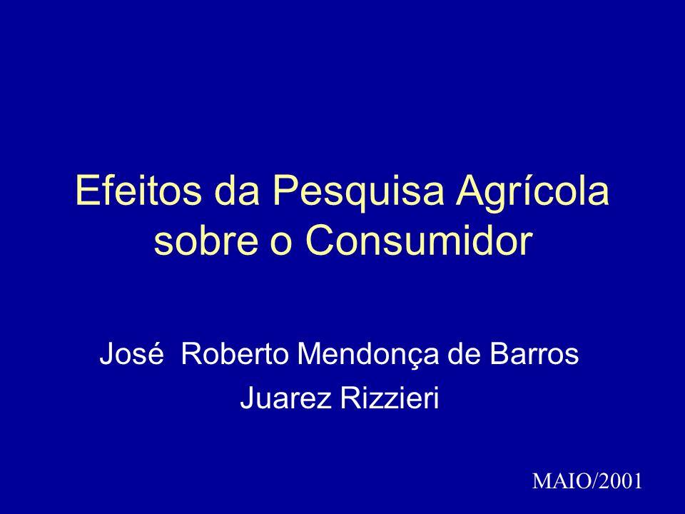 Efeitos da Pesquisa Agrícola sobre o Consumidor José Roberto Mendonça de Barros Juarez Rizzieri MAIO/2001