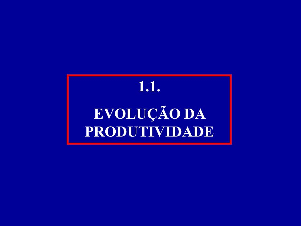 1.1. EVOLUÇÃO DA PRODUTIVIDADE