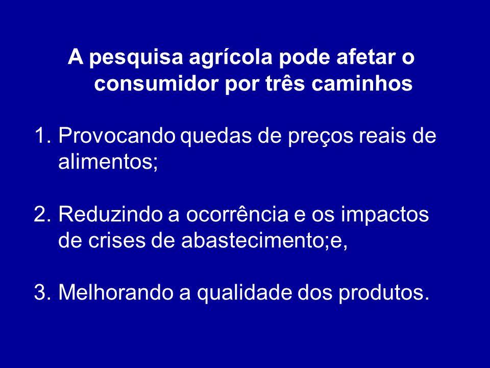 A pesquisa agrícola pode afetar o consumidor por três caminhos 1.Provocando quedas de preços reais de alimentos; 2.Reduzindo a ocorrência e os impactos de crises de abastecimento;e, 3.Melhorando a qualidade dos produtos.
