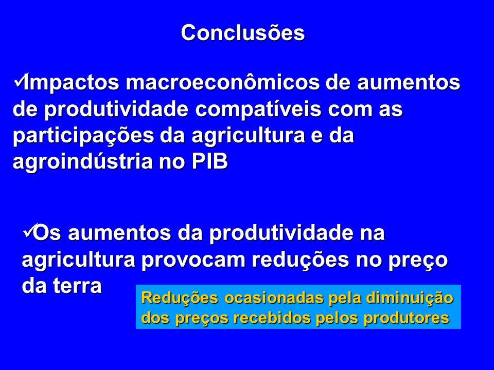 Conclusões Impactos macroeconômicos de aumentos de produtividade compatíveis com as participações da agricultura e da agroindústria no PIB Impactos macroeconômicos de aumentos de produtividade compatíveis com as participações da agricultura e da agroindústria no PIB Os aumentos da produtividade na agricultura provocam reduções no preço da terra Os aumentos da produtividade na agricultura provocam reduções no preço da terra Reduções ocasionadas pela diminuição dos preços recebidos pelos produtores