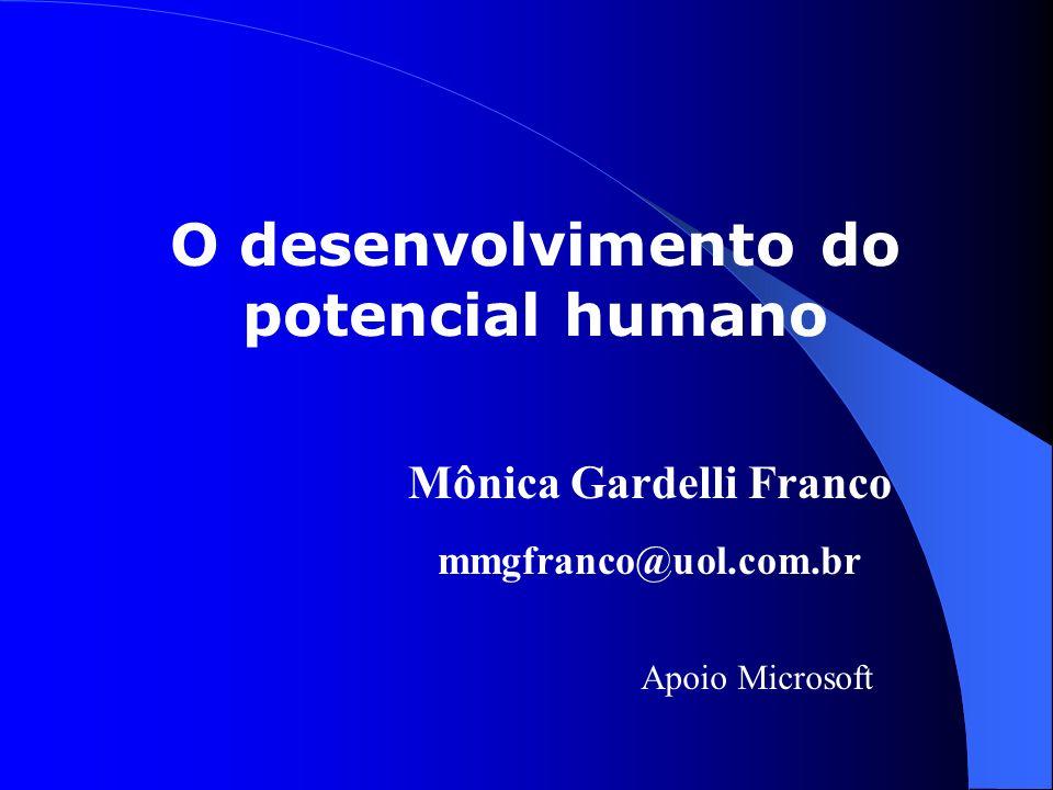 O desenvolvimento do potencial humano Mônica Gardelli Franco mmgfranco@uol.com.br Apoio Microsoft