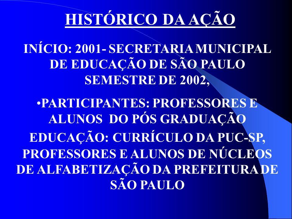 HISTÓRICO DA AÇÃO INÍCIO: 2001- SECRETARIA MUNICIPAL DE EDUCAÇÃO DE SÃO PAULO SEMESTRE DE 2002, PARTICIPANTES: PROFESSORES E ALUNOS DO PÓS GRADUAÇÃO E
