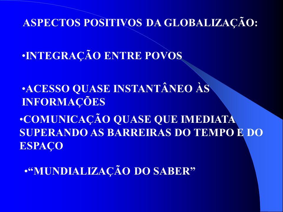 ASPECTOS POSITIVOS DA GLOBALIZAÇÃO: INTEGRAÇÃO ENTRE POVOS ACESSO QUASE INSTANTÂNEO ÀS INFORMAÇÕES COMUNICAÇÃO QUASE QUE IMEDIATA SUPERANDO AS BARREIR