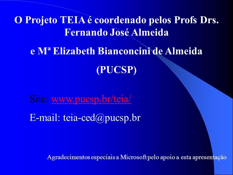 O Projeto TEIA é coordenado pelos Profs Drs. Fernando José Almeida e Mª Elizabeth Bianconcini de Almeida (PUCSP) Site: www.pucsp.br/teia/www.pucsp.br/