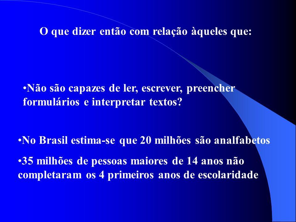 O que dizer então com relação àqueles que: No Brasil estima-se que 20 milhões são analfabetos 35 milhões de pessoas maiores de 14 anos não completaram