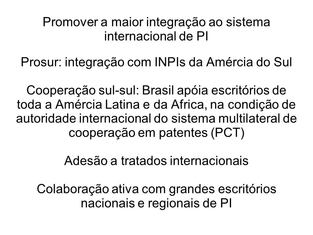Promover a maior integração ao sistema internacional de PI Prosur: integração com INPIs da Amércia do Sul Cooperação sul-sul: Brasil apóia escritórios