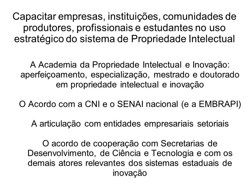 Capacitar empresas, instituições, comunidades de produtores, profissionais e estudantes no uso estratégico do sistema de Propriedade Intelectual A Aca