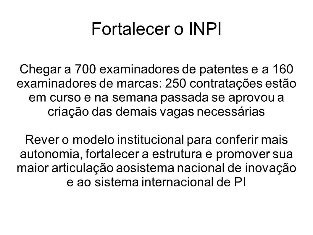 Fortalecer o INPI Chegar a 700 examinadores de patentes e a 160 examinadores de marcas: 250 contratações estão em curso e na semana passada se aprovou