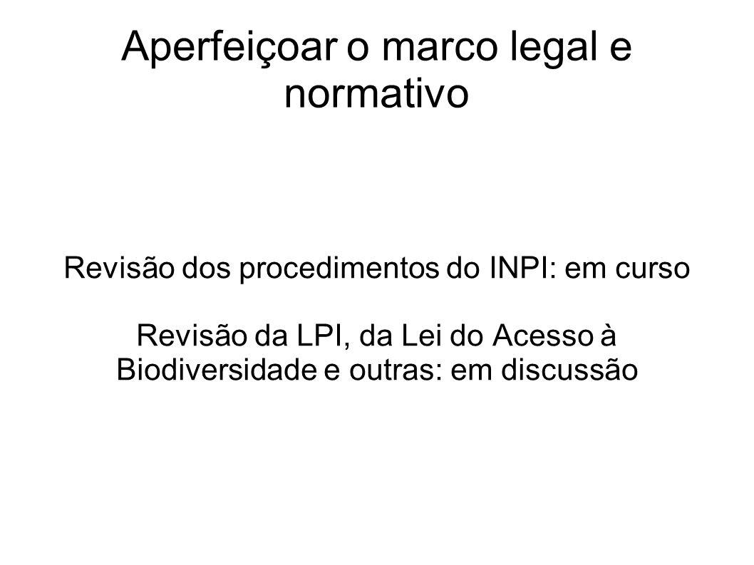 Aperfeiçoar o marco legal e normativo Revisão dos procedimentos do INPI: em curso Revisão da LPI, da Lei do Acesso à Biodiversidade e outras: em discu