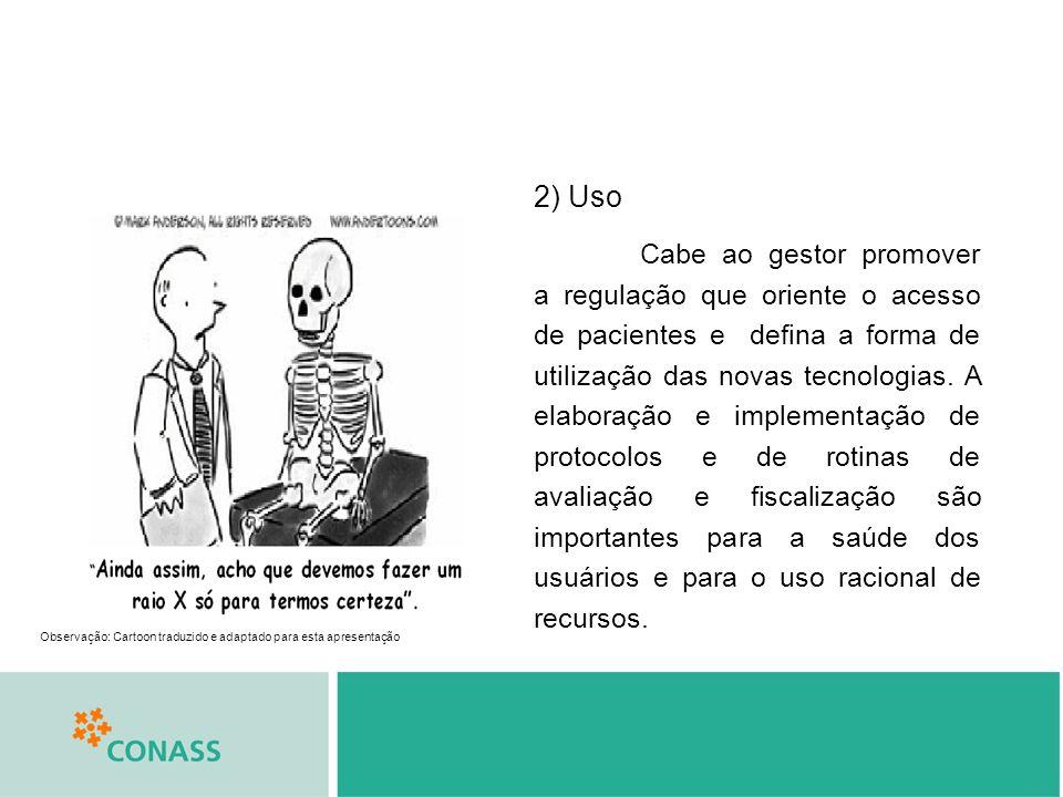 Observação: Cartoon traduzido e adaptado para esta apresentação 2) Uso Cabe ao gestor promover a regulação que oriente o acesso de pacientes e defina a forma de utilização das novas tecnologias.