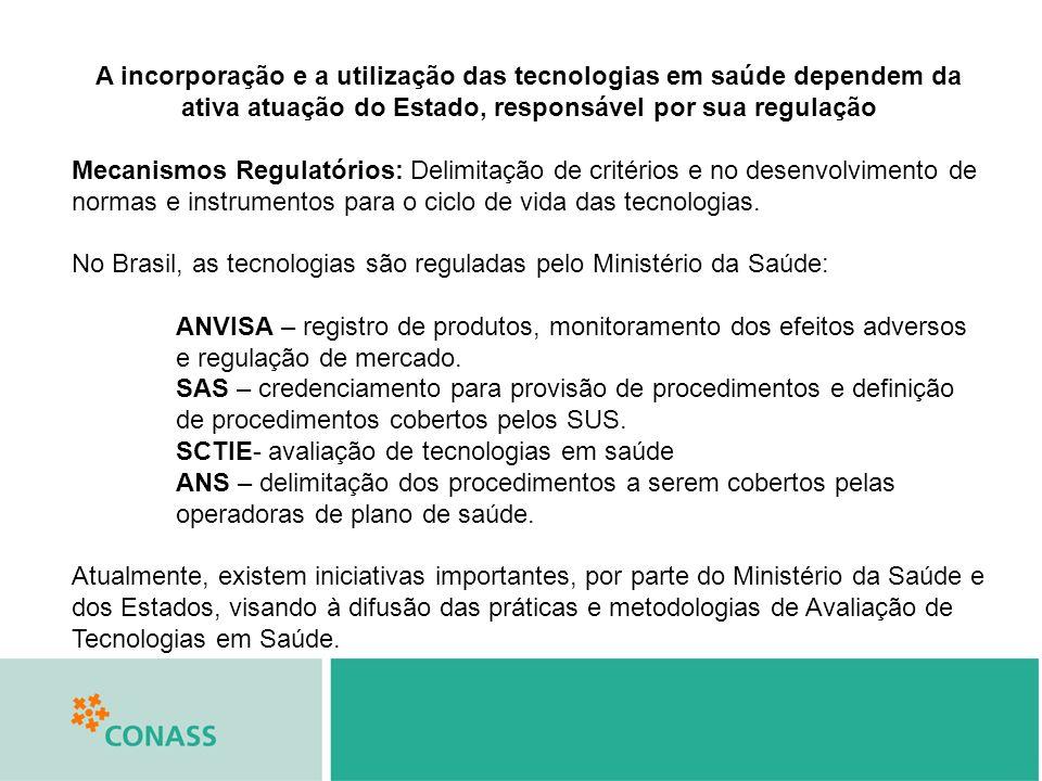 A incorporação e a utilização das tecnologias em saúde dependem da ativa atuação do Estado, responsável por sua regulação Mecanismos Regulatórios: Delimitação de critérios e no desenvolvimento de normas e instrumentos para o ciclo de vida das tecnologias.