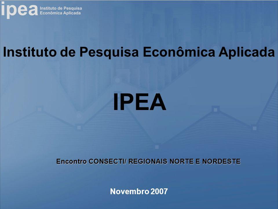 Instituto de Pesquisa Econômica Aplicada Novembro 2007 IPEA Encontro CONSECTI/ REGIONAIS NORTE E NORDESTE
