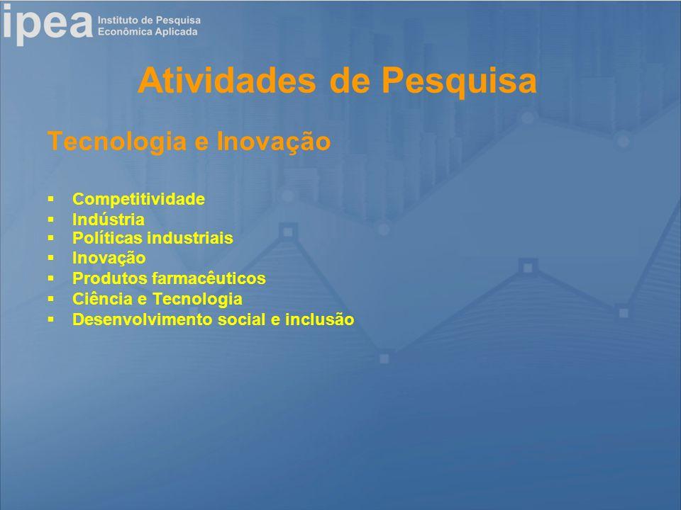 Atividades de Pesquisa Tecnologia e Inovação Competitividade Indústria Políticas industriais Inovação Produtos farmacêuticos Ciência e Tecnologia Desenvolvimento social e inclusão
