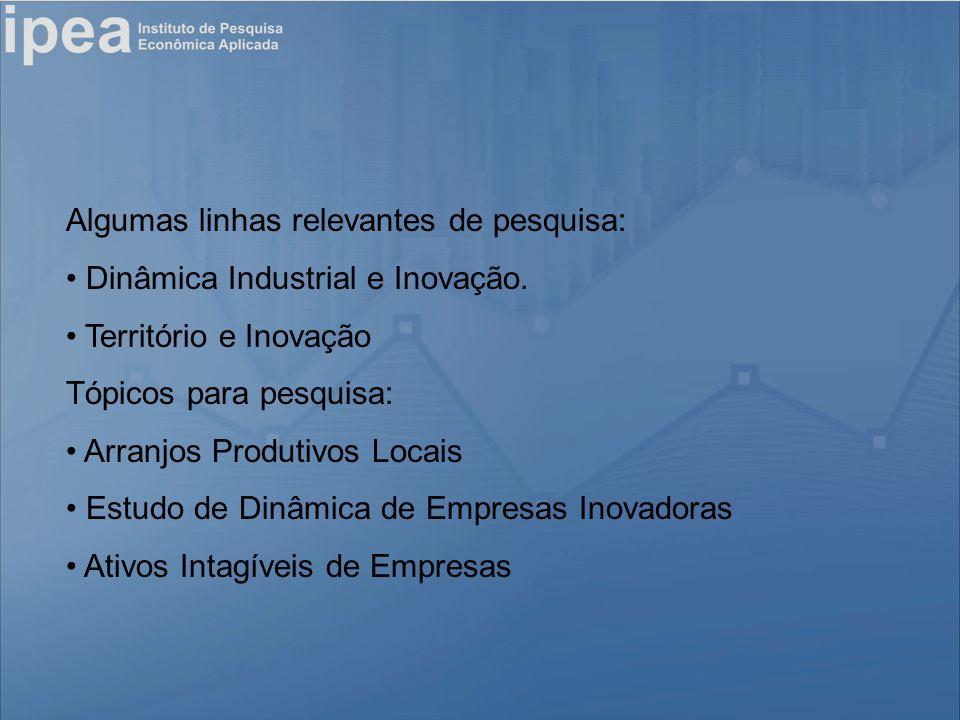 Algumas linhas relevantes de pesquisa: Dinâmica Industrial e Inovação.