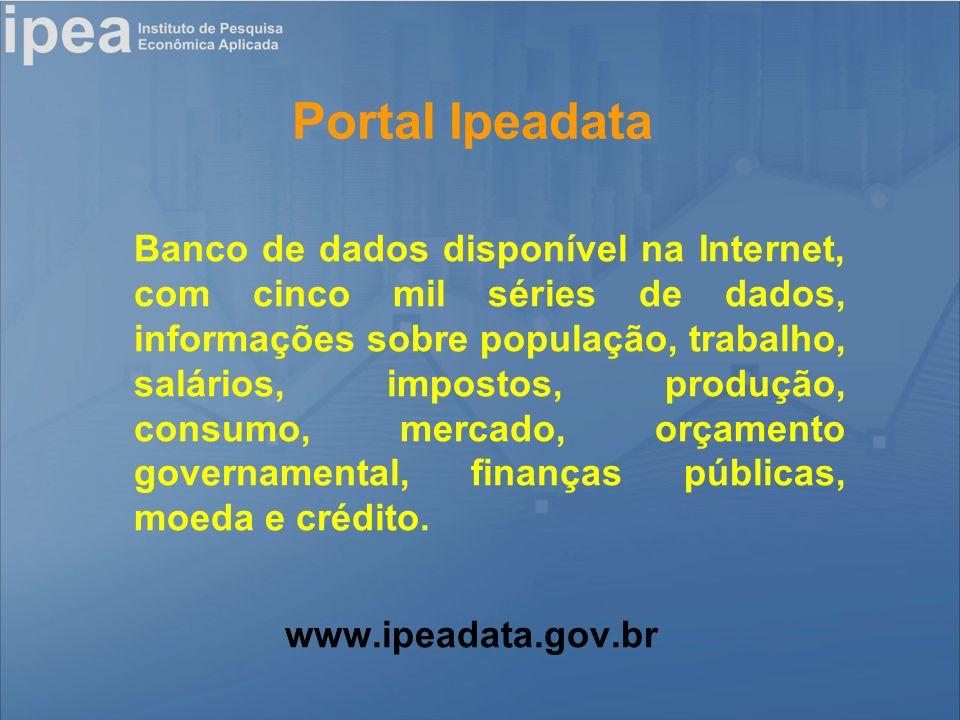 Portal Ipeadata Banco de dados disponível na Internet, com cinco mil séries de dados, informações sobre população, trabalho, salários, impostos, produção, consumo, mercado, orçamento governamental, finanças públicas, moeda e crédito.