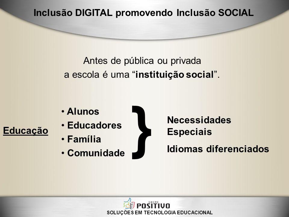 Antes de pública ou privada a escola é uma instituição social. Necessidades Especiais Idiomas diferenciados } Alunos Educadores Família Comunidade SOL