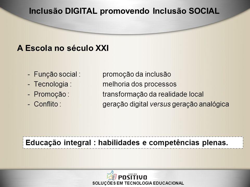 -Função social : promoção da inclusão -Tecnologia : melhoria dos processos -Promoção : transformação da realidade local -Conflito : geração digital ve