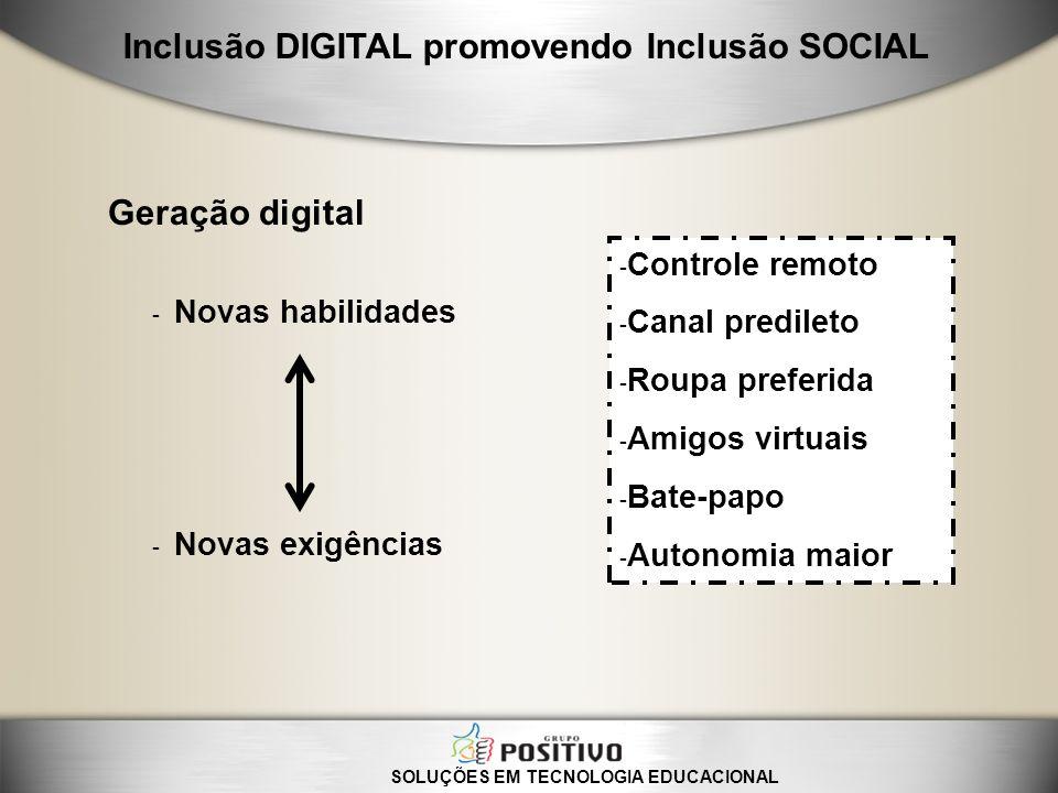 - Novas habilidades - Novas exigências Geração digital - Controle remoto - Canal predileto - Roupa preferida - Amigos virtuais - Bate-papo - Autonomia