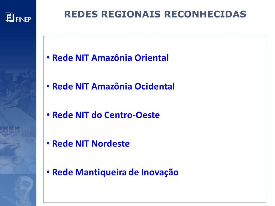 REDES REGIONAIS RECONHECIDAS Rede NIT Amazônia Oriental Rede NIT Amazônia Ocidental Rede NIT do Centro-Oeste Rede NIT Nordeste Rede Mantiqueira de Ino