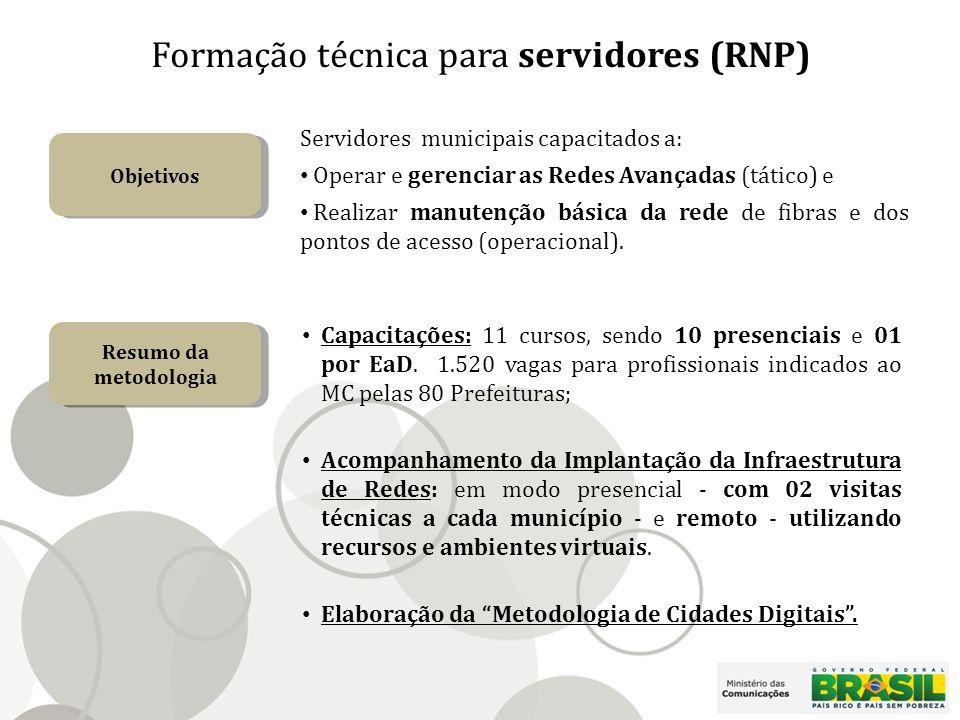Formação técnica para servidores (RNP) Objetivos Servidores municipais capacitados a: Operar e gerenciar as Redes Avançadas (tático) e Realizar manutenção básica da rede de fibras e dos pontos de acesso (operacional).
