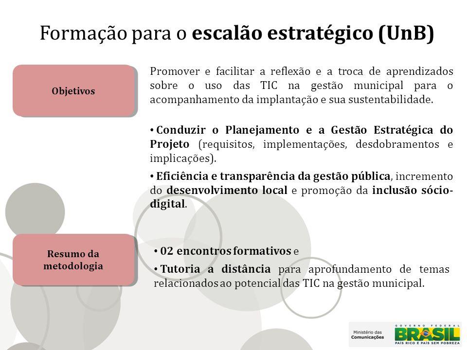 Formação para o escalão estratégico (UnB) Objetivos Promover e facilitar a reflexão e a troca de aprendizados sobre o uso das TIC na gestão municipal para o acompanhamento da implantação e sua sustentabilidade.