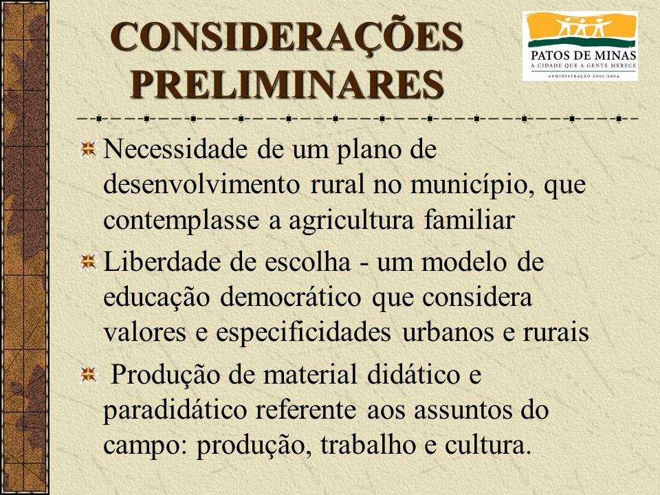 Necessidade de um plano de desenvolvimento rural no município, que contemplasse a agricultura familiar Liberdade de escolha - um modelo de educação de