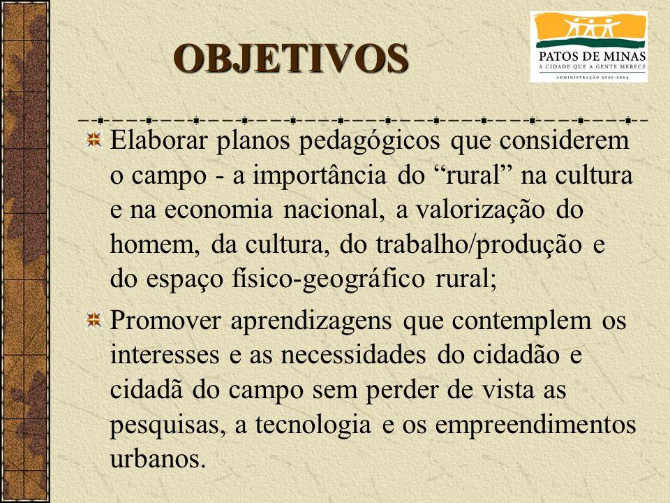 Elaborar planos pedagógicos que considerem o campo - a importância do rural na cultura e na economia nacional, a valorização do homem, da cultura, do
