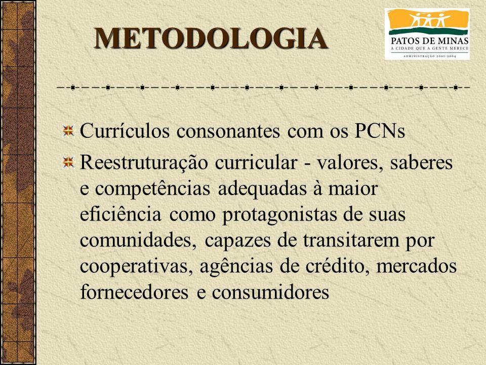 Currículos consonantes com os PCNs Reestruturação curricular - valores, saberes e competências adequadas à maior eficiência como protagonistas de suas