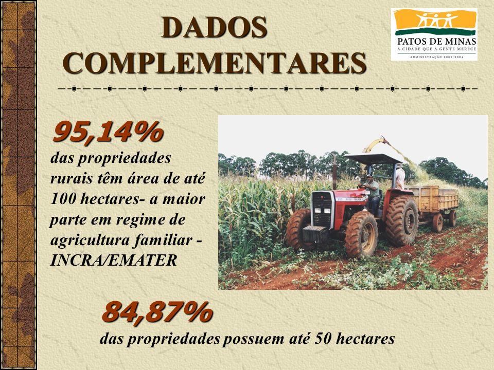 DADOS COMPLEMENTARES 95,14% das propriedades rurais têm área de até 100 hectares- a maior parte em regime de agricultura familiar - INCRA/EMATER 84,87