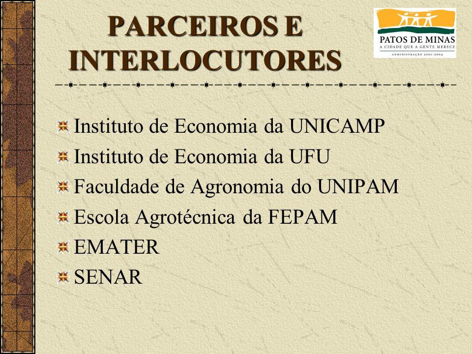 Instituto de Economia da UNICAMP Instituto de Economia da UFU Faculdade de Agronomia do UNIPAM Escola Agrotécnica da FEPAM EMATER SENAR PARCEIROS E IN