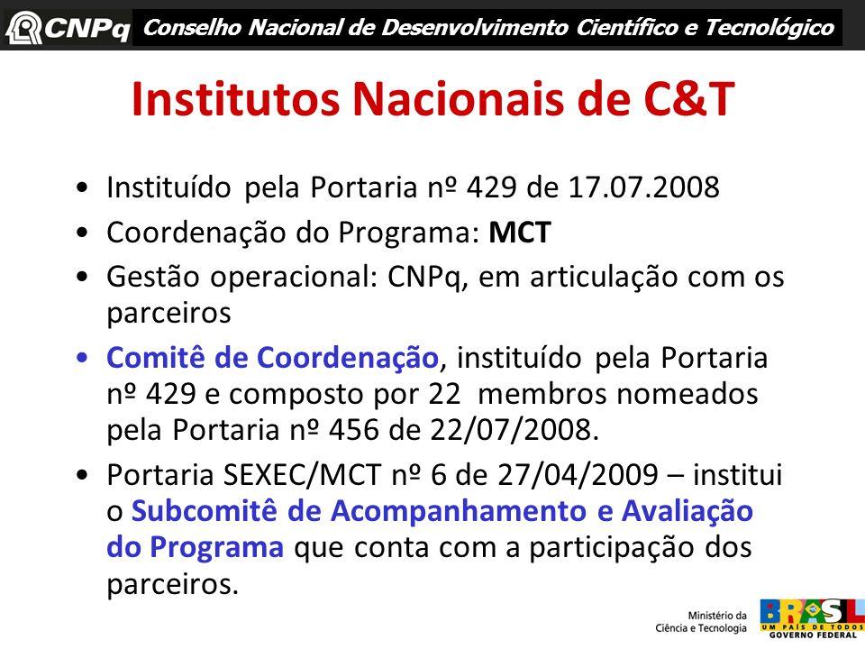 Institutos Nacionais de C&T Instituído pela Portaria nº 429 de 17.07.2008 Coordenação do Programa: MCT Gestão operacional: CNPq, em articulação com os