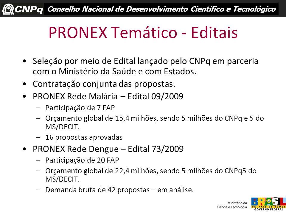 PRONEX Temático - Editais Seleção por meio de Edital lançado pelo CNPq em parceria com o Ministério da Saúde e com Estados. Contratação conjunta das p