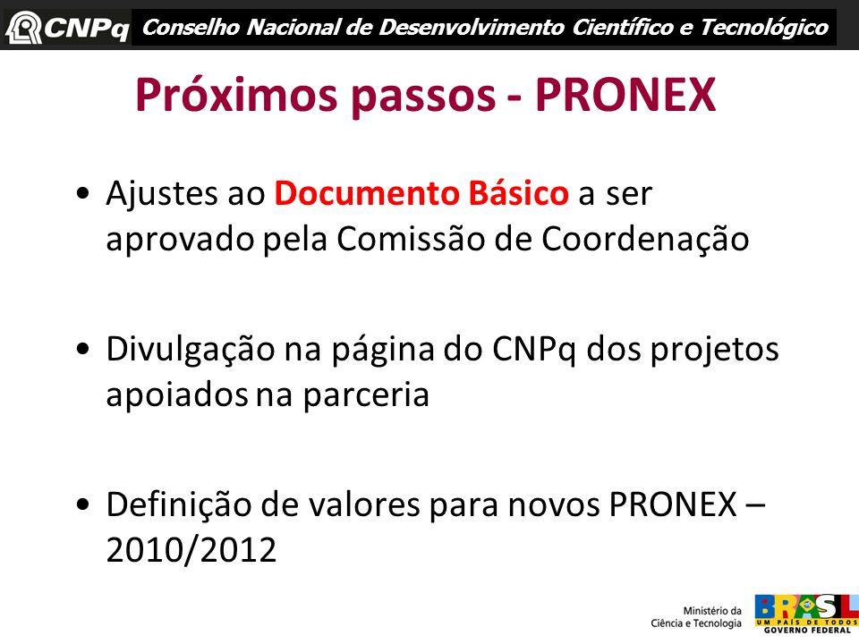 Próximos passos - PRONEX Ajustes ao Documento Básico a ser aprovado pela Comissão de Coordenação Divulgação na página do CNPq dos projetos apoiados na