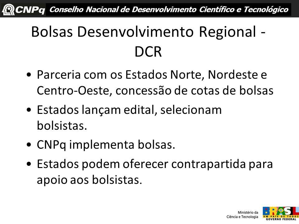 Bolsas Desenvolvimento Regional - DCR Parceria com os Estados Norte, Nordeste e Centro-Oeste, concessão de cotas de bolsas Estados lançam edital, sele