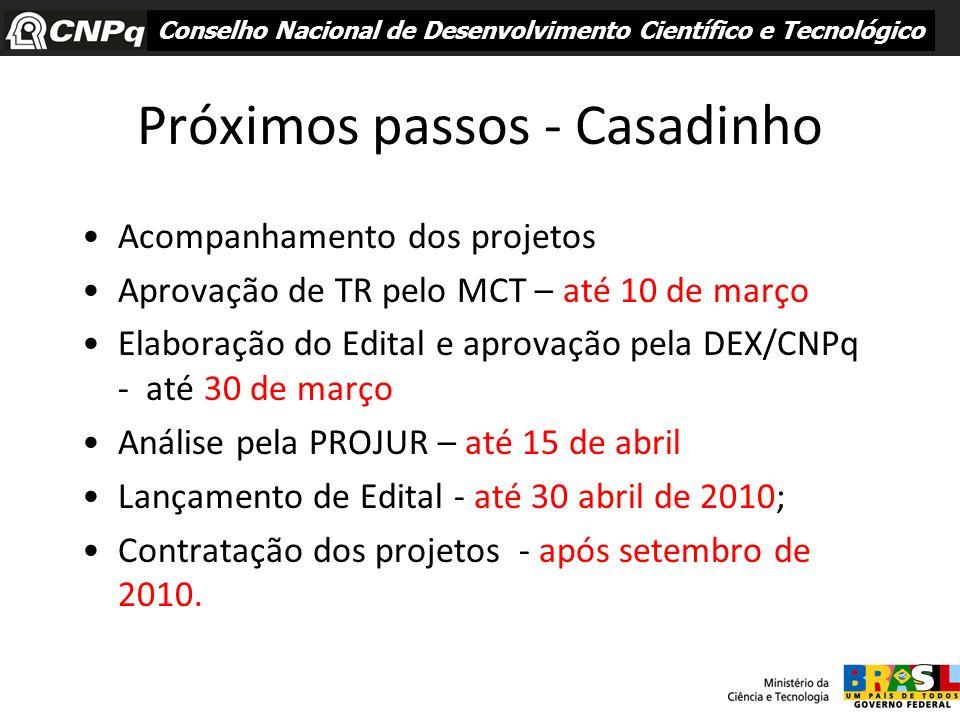 Próximos passos - Casadinho Acompanhamento dos projetos Aprovação de TR pelo MCT – até 10 de março Elaboração do Edital e aprovação pela DEX/CNPq - at