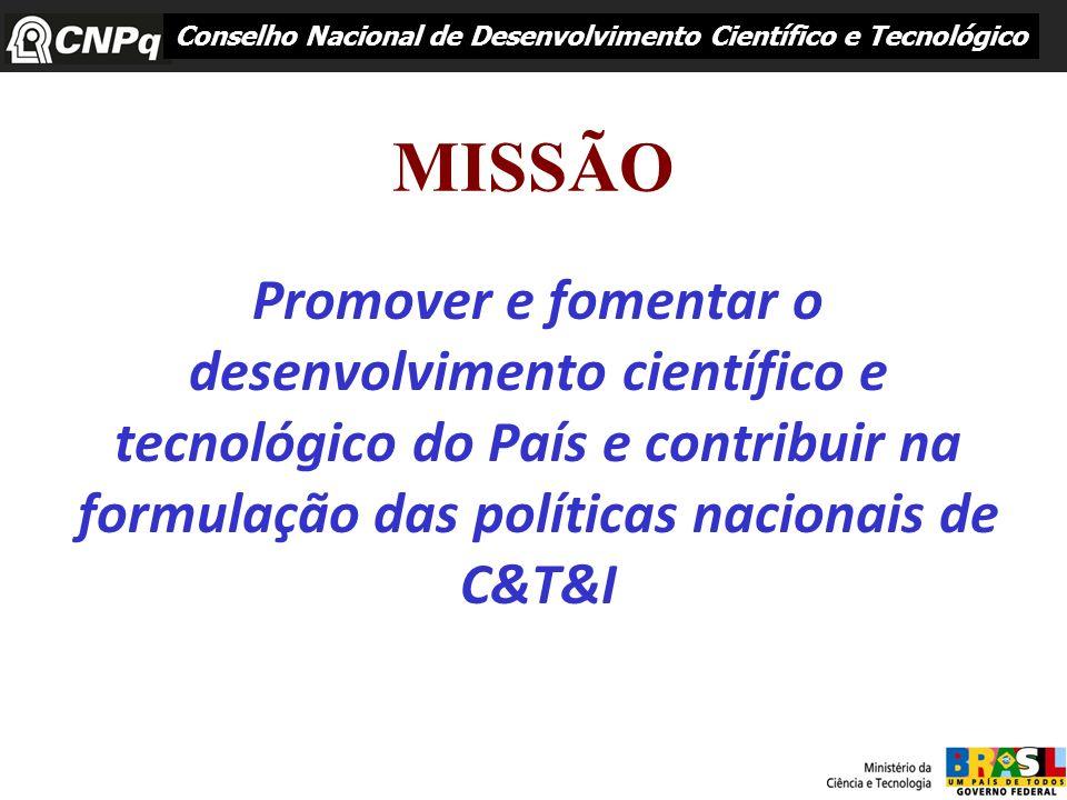 MISSÃO Promover e fomentar o desenvolvimento científico e tecnológico do País e contribuir na formulação das políticas nacionais de C&T&I Conselho Nac
