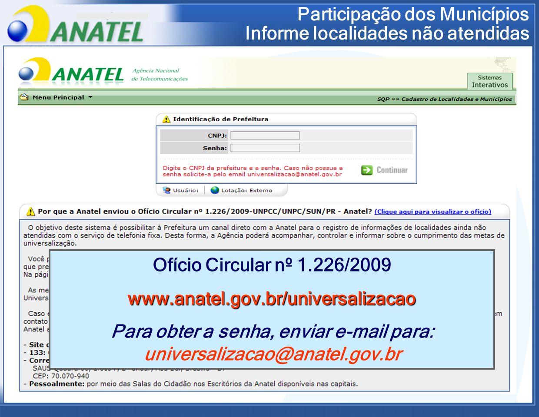 Participação dos Municípios Informe localidades não atendidas Ofício Circular nº 1.226/2009www.anatel.gov.br/universalizacao Para obter a senha, envia