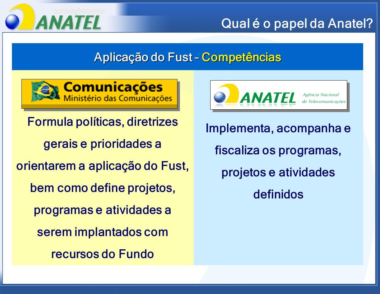 Aplicação do Fust – Competências Formula políticas, diretrizes gerais e prioridades a orientarem a aplicação do Fust, bem como define projetos, progra