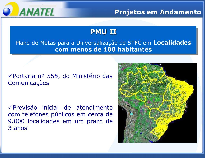 Projetos em Andamento PMU II Plano de Metas para a Universalização do STFC em Localidades com menos de 100 habitantes PMU II Plano de Metas para a Uni