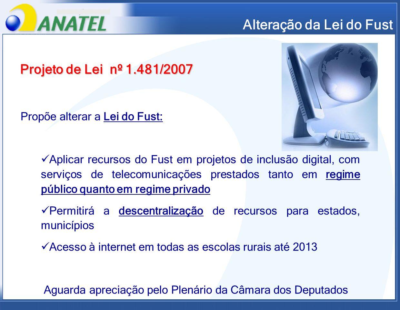 Alteração da Lei do Fust Projeto de Lei nº 1.481/2007 Propõe alterar a Lei do Fust: Aplicar recursos do Fust em projetos de inclusão digital, com serv