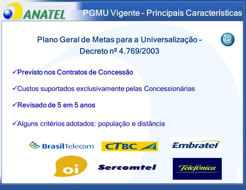 PGMU Vigente – Principais Características Plano Geral de Metas para a Universalização - Decreto nº 4.769/2003 Previsto nos Contratos de Concessão Cust
