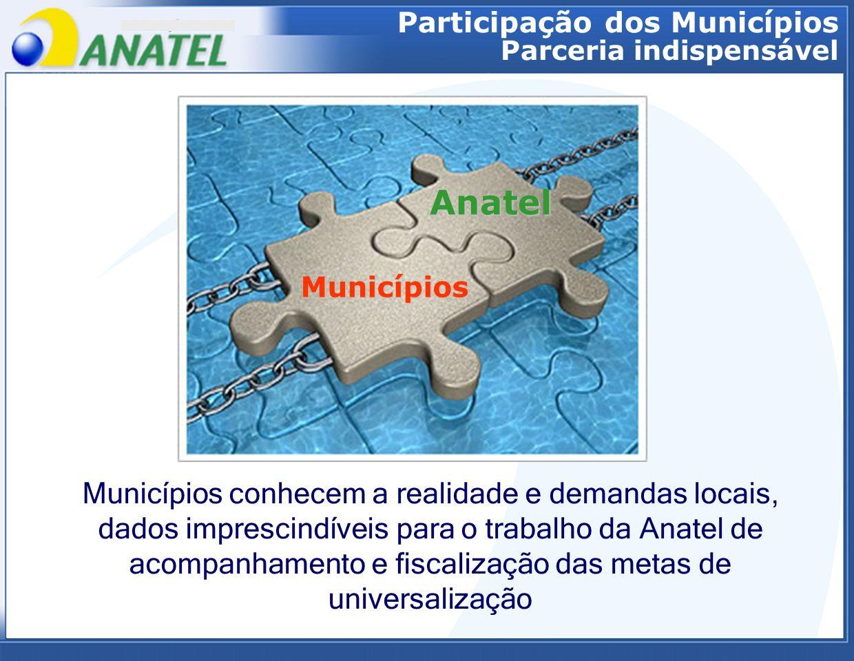 Municípios Anatel Municípios conhecem a realidade e demandas locais, dados imprescindíveis para o trabalho da Anatel de acompanhamento e fiscalização