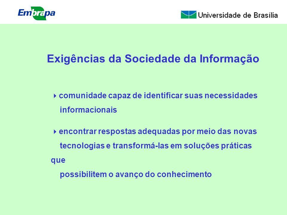 Exigências da Sociedade da Informação comunidade capaz de identificar suas necessidades informacionais encontrar respostas adequadas por meio das nova
