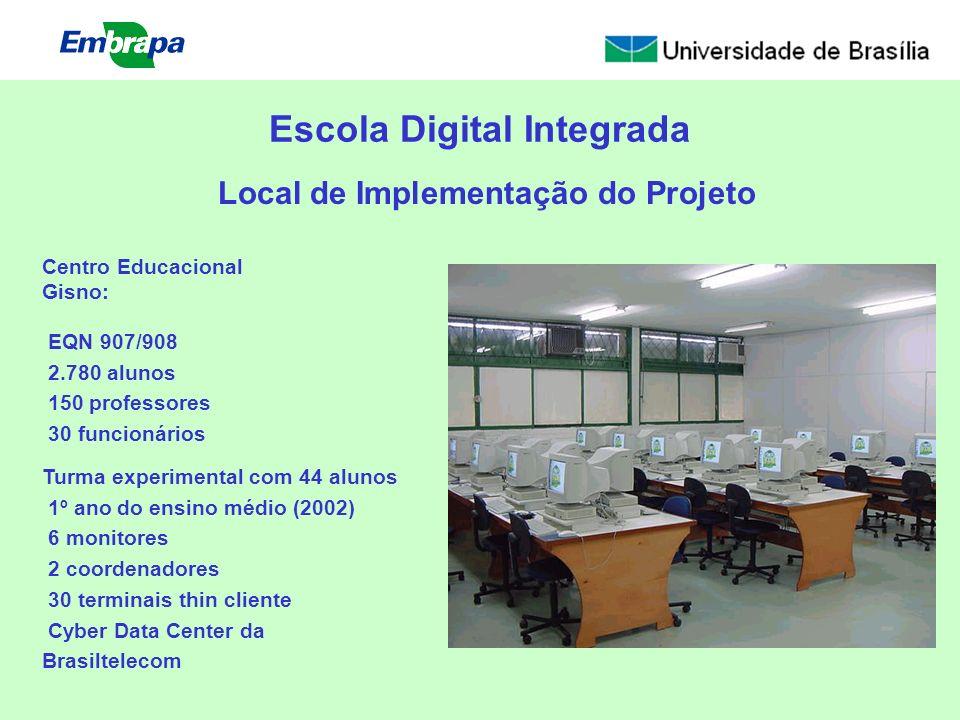 Escola Digital Integrada Centro Educacional Gisno: EQN 907/908 2.780 alunos 150 professores 30 funcionários Turma experimental com 44 alunos 1º ano do