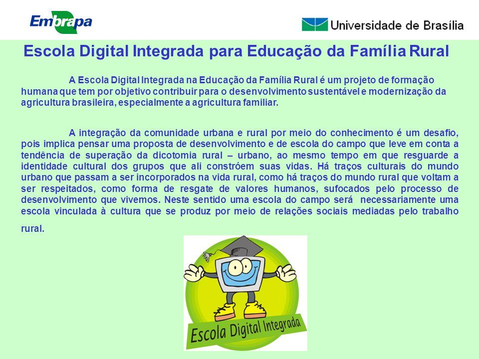 A Escola Digital Integrada na Educação da Família Rural é um projeto de formação humana que tem por objetivo contribuir para o desenvolvimento sustent
