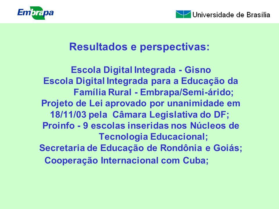 Resultados e perspectivas: Escola Digital Integrada - Gisno Escola Digital Integrada para a Educação da Família Rural - Embrapa/Semi-árido; Projeto de