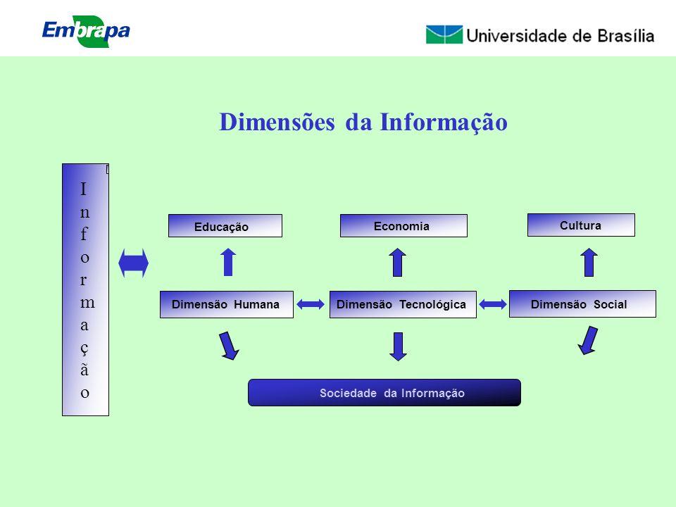 Educação Sociedade da Informação Dimensão Humana Economia Dimensão Tecnológica Cultura Dimensão Social Dimensões da Informação InformaçãoInformação